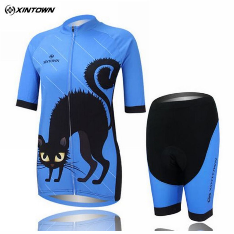 2016 Xintown Cat Womens Cycling Jersey Set Short Sleeve Road Bike Cycling Clothing Ropa Ciclismo Bicycle Sportswear Clothes