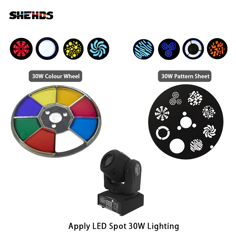 SHEHDS Mini Spot 30W LED Moving Head Lights Parts Wheel Color & Gobo Wheel Accessories