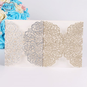 Image 4 - Dualswish 50 개/몫 로맨틱 레이저 컷 꽃 초대 카드 반짝이 종이 결혼식 초대 카드 결혼식 파티 용품