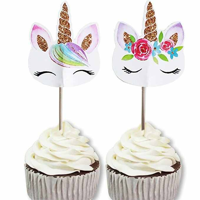 24pcs Bag Unicornio Unicorn Cupcake Topper Kids Happy Birthday Cake Toppers Wedding Party Decoration