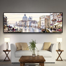 Abstract Venice City of Water Oil Painting on Canvas Resort Boats Buildings Cuadros Posters and Prints Wall Art for Living Room(China)