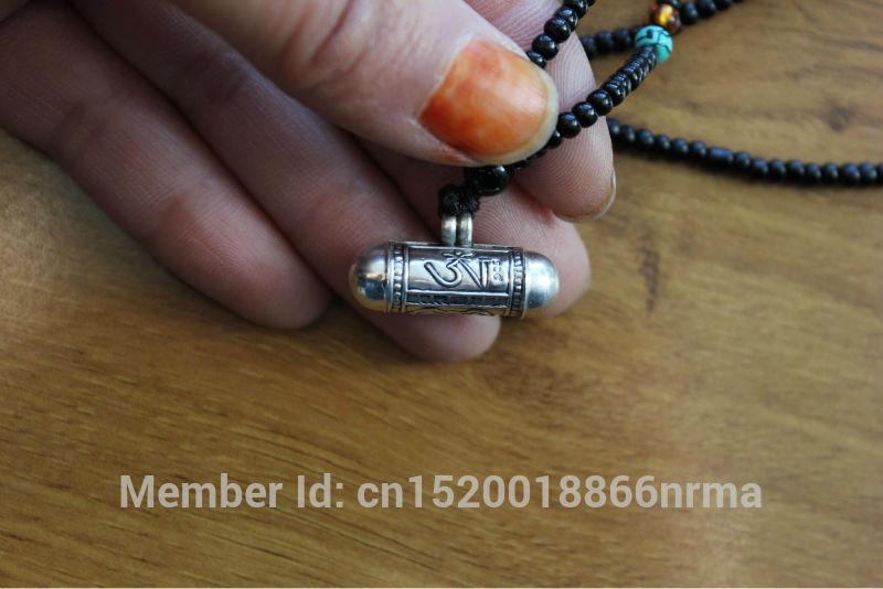 SL000 Непальский тибетский 925 пробы серебро 925 Молитвенница Непал прекрасные амулеты цилиндра, кулон OM & Buddha Eye GAU