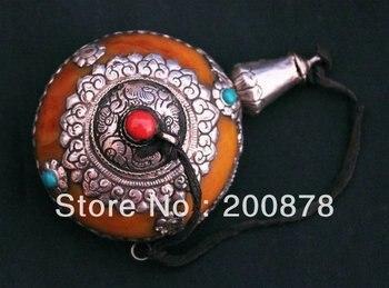 HDC0640  Tibetan silver capped beeswax big Snuff bottle,4'',art colletibles