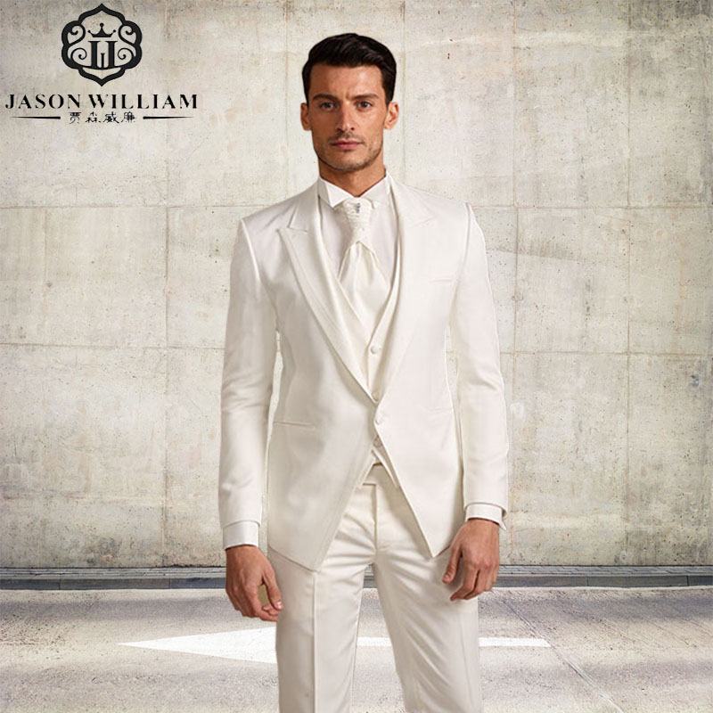 LN126 Jacket Pants Tie Ves Masculino Blazer white Male Masculino Slim Fit Men Suits Wedding Suits