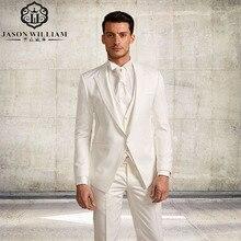 LN126 (Jacke + Pants + Tie + Ves) Masculino Blazer weiß Männlichen Masculino Slim Fit Männer Anzüge Hochzeit anzüge Für Männer 3 Stücke