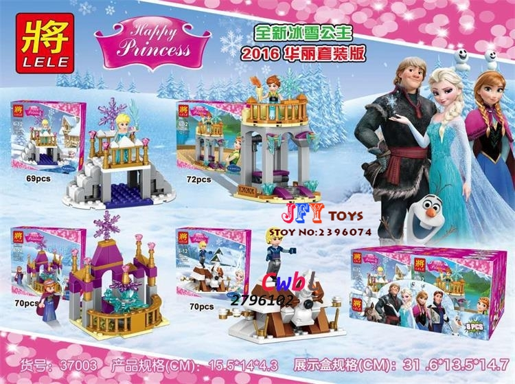 Princess girl Anna Elsa Kristoff Sleigh Adventure Building blocks Anna Kristoff Sevn the Olaf toys for children gift speelgoed