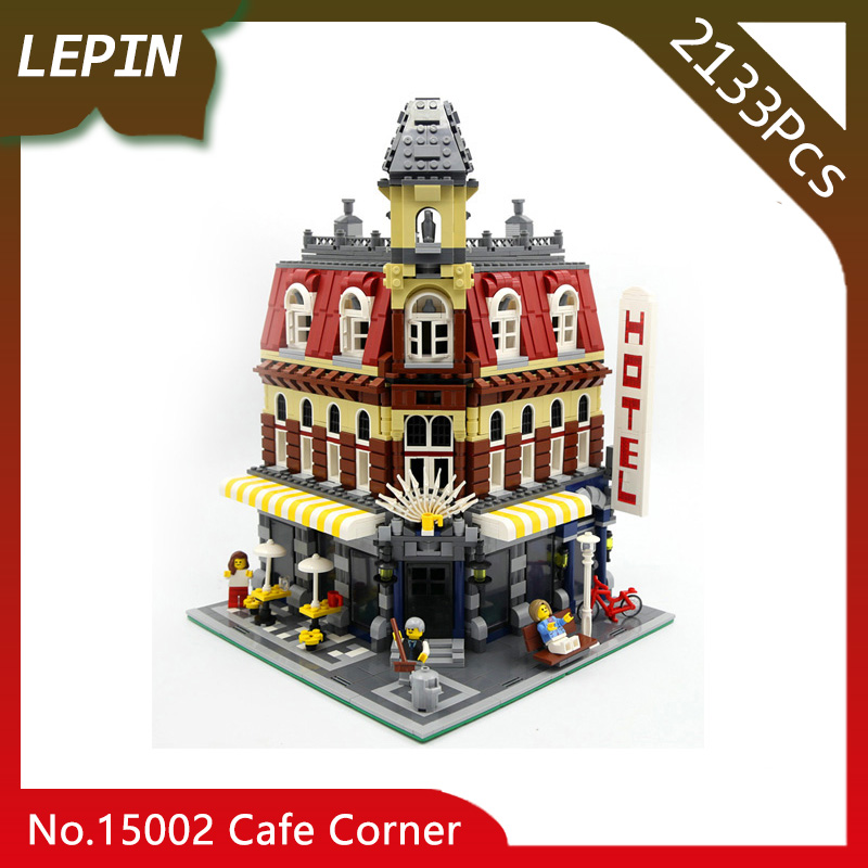 Lepin 15002 City Cafe Corner Model Creators 2133pcs Building Kits Blocks Bricks Compatible Toys For Children Gift 10182 a toy a dream lepin 15008 2462pcs city street creator green grocer model building kits blocks bricks compatible 10185