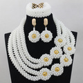 White Beads Necklace Jewelry Set Gold Plated Indian Dubai Statement Jewellery Set for Anniversary Free Shipping WD531