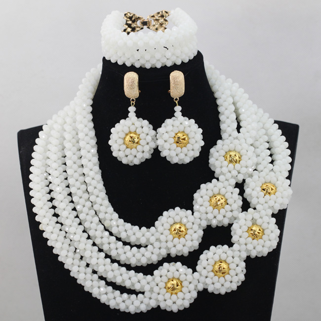 White Beads Necklace Jewelry Set New Indian Dubai Statement Jewellery Set for Anniversary Free Shipping WD531 oysters indian v black white