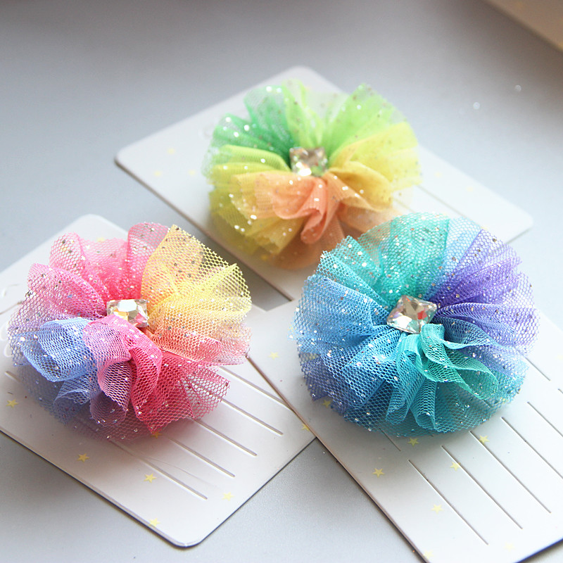 Kids Glitter light chiffon Flower hairpin Hair clips Toddlers Headbands   headwear   Hair Accessories A4