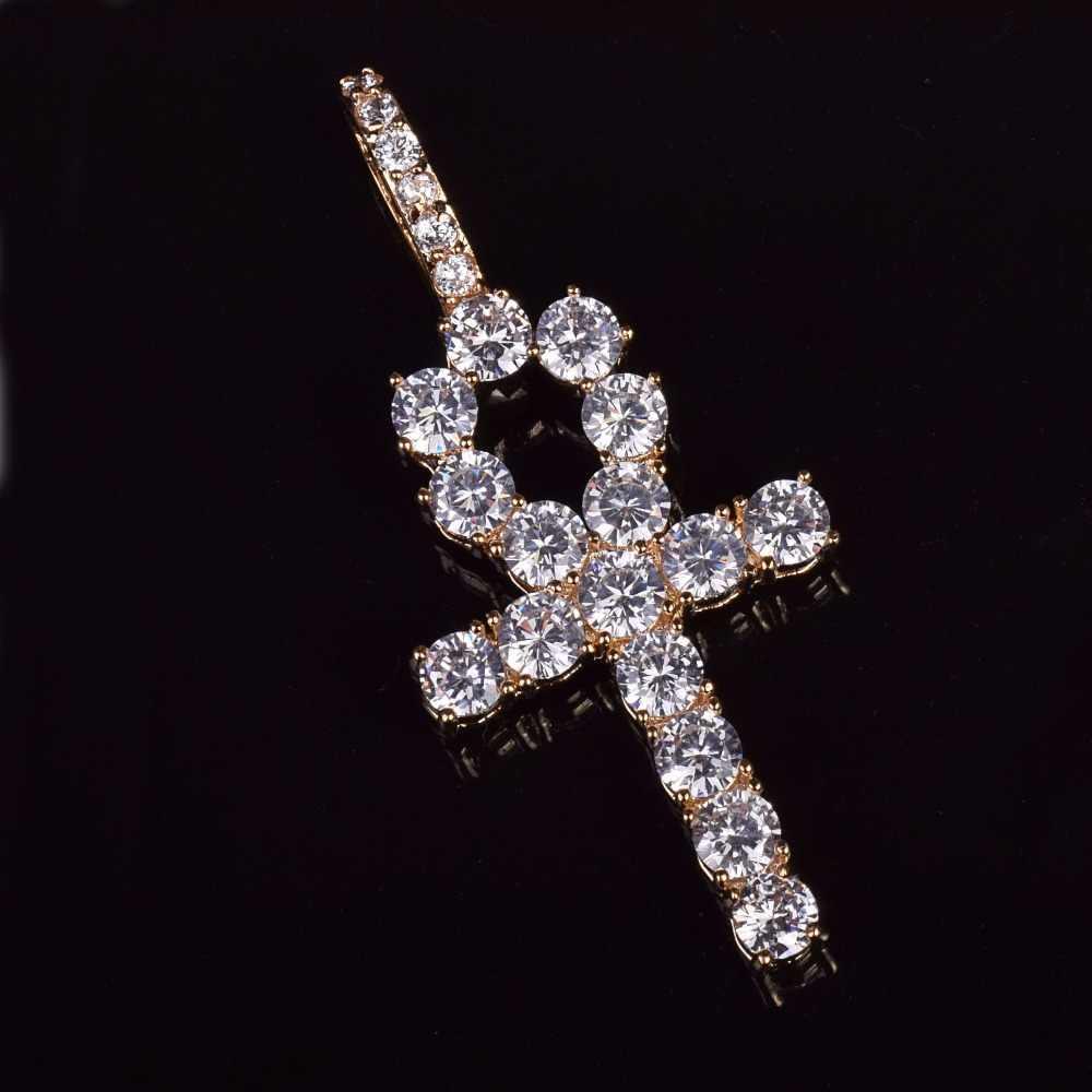 Iced Zircone Ankh Croce Ciondolo In Oro Argento Materiale di Rame CZ Egiziano Chiave della Vita Ciondolo Collana Delle Donne Degli Uomini di Hip Hop gioielli