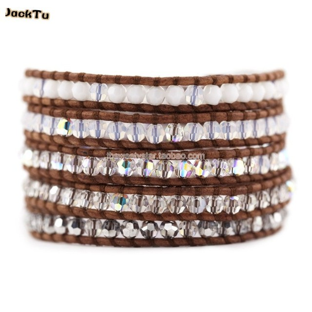 2017 hot wholesale crystal beads mixed 5 wrap natural brown leather bracelet woman