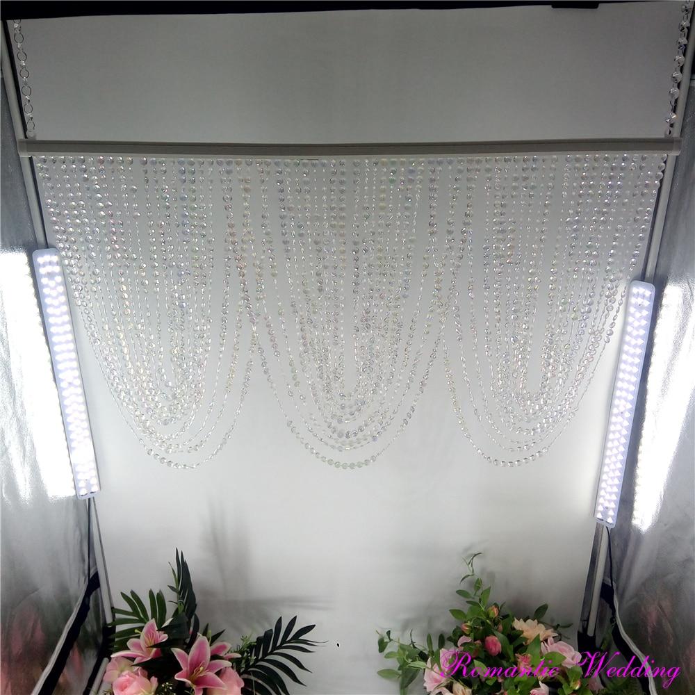 10pcs/lot Romantic Wedding Iridescence Plastic Curved Bead Curtain Chandelier Wedding Event Party Centerpieces