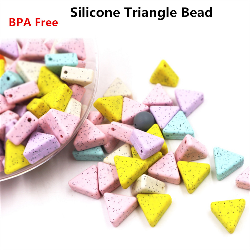 Chenkai 50PCS BPA Free Silicone Triangle Teether Beads Pendant DIY Baby Shower Chewing Pacifier Dummy Toy Accessories
