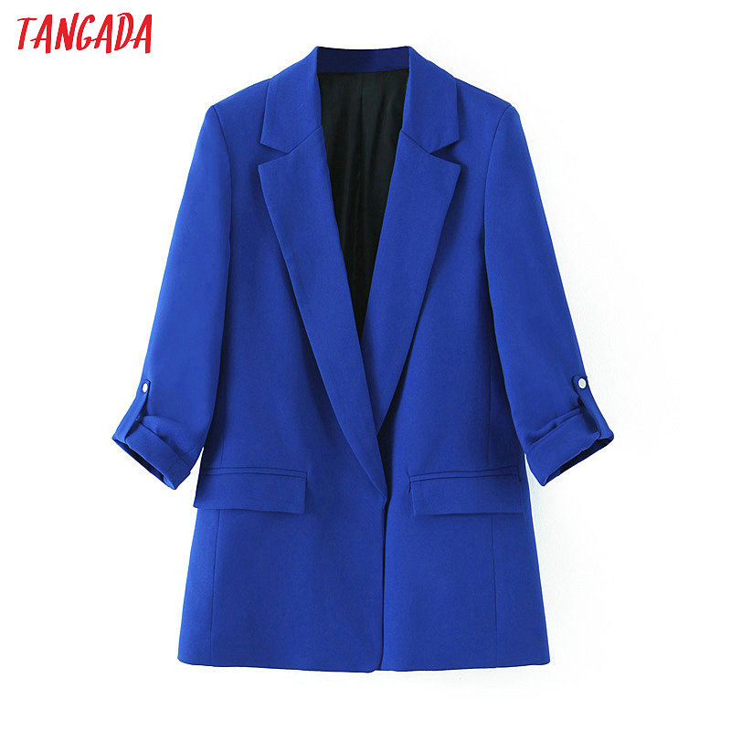 Tangada Woman New Arrival Blazer Chic Navy Blue Blazer Button Three Quarter Sleeve Lady Blazer Coat Female Retro Outerwear SL453