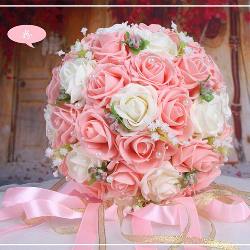2019 Vackra Handgjorda Blommor Dekorativa Konstgjorda Rose Blommor - Bröllopstillbehör - Foto 5