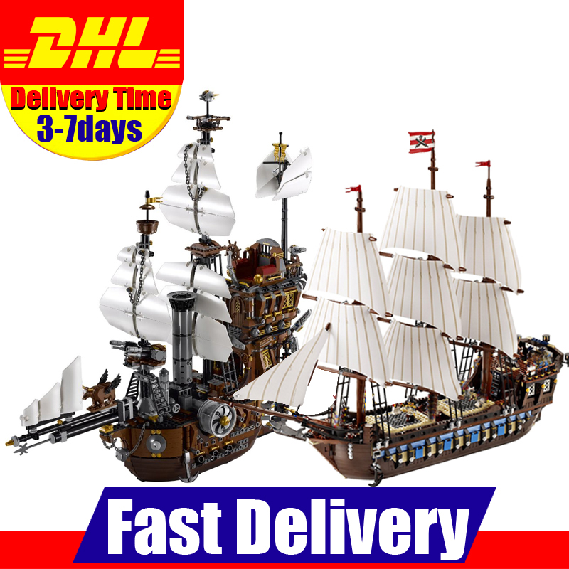 DHL LEPIN 16002 Metal Beard's Sea Cow+22001 Pirate Ship Imperial Warships Building Blocks Bricks Toys Gifts Clone 10210 70810 lepin 22001 pirates series the imperial war ship model building kits blocks bricks toys gifts for kids 1717pcs compatible 10210