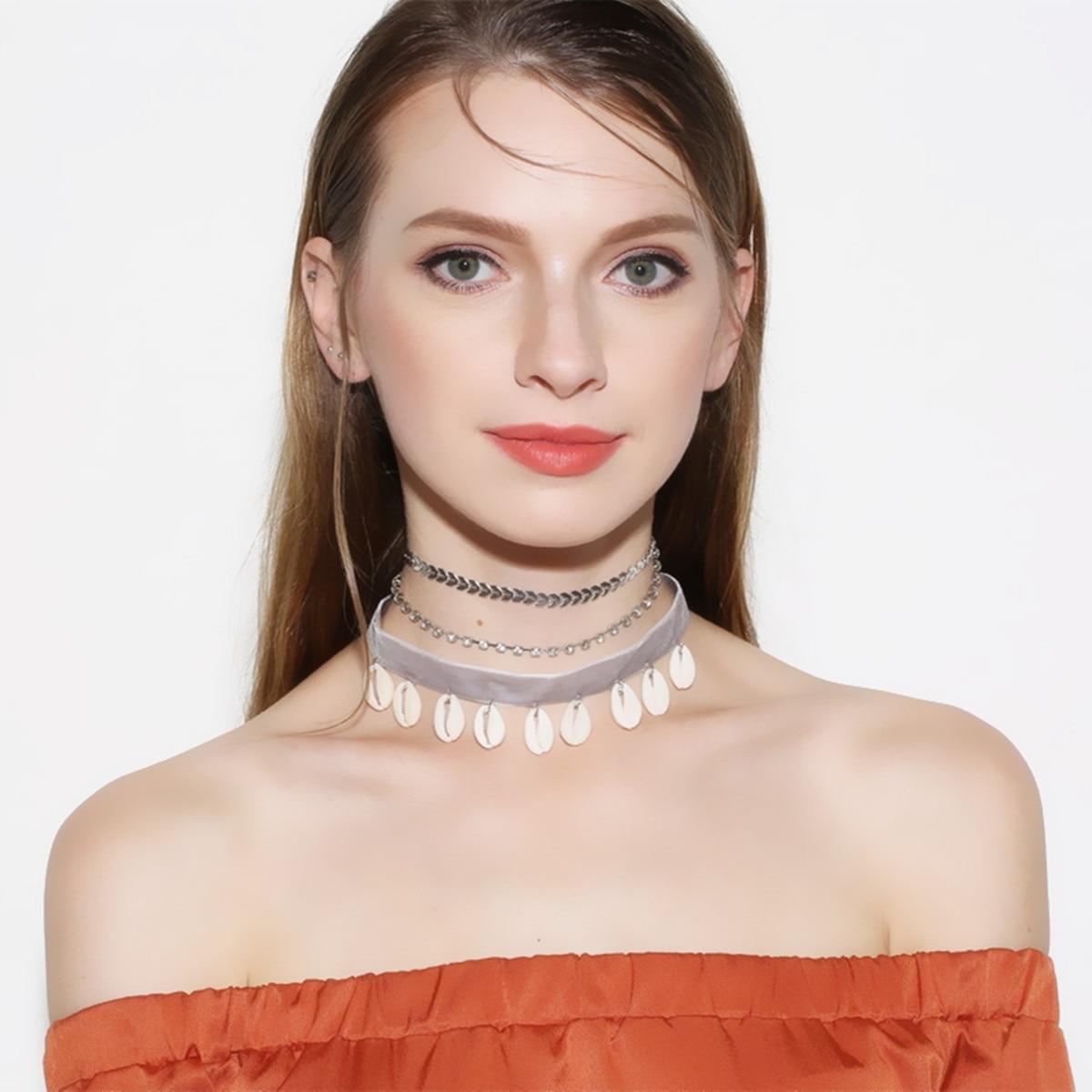 Beach Shell Velvet Necklace Multi Chain pendant for Women silveer gold chain Chocker Conch Necklaces