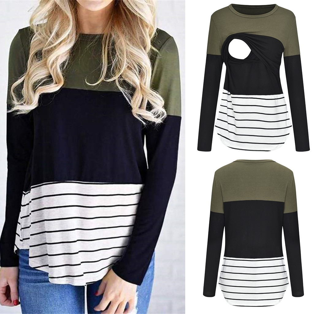 New Breastfeeding Clothes Autumn Women Maternity Long Sleeve Striped Tops Nursing T-shirt Premama Casual Clothing For Mothers