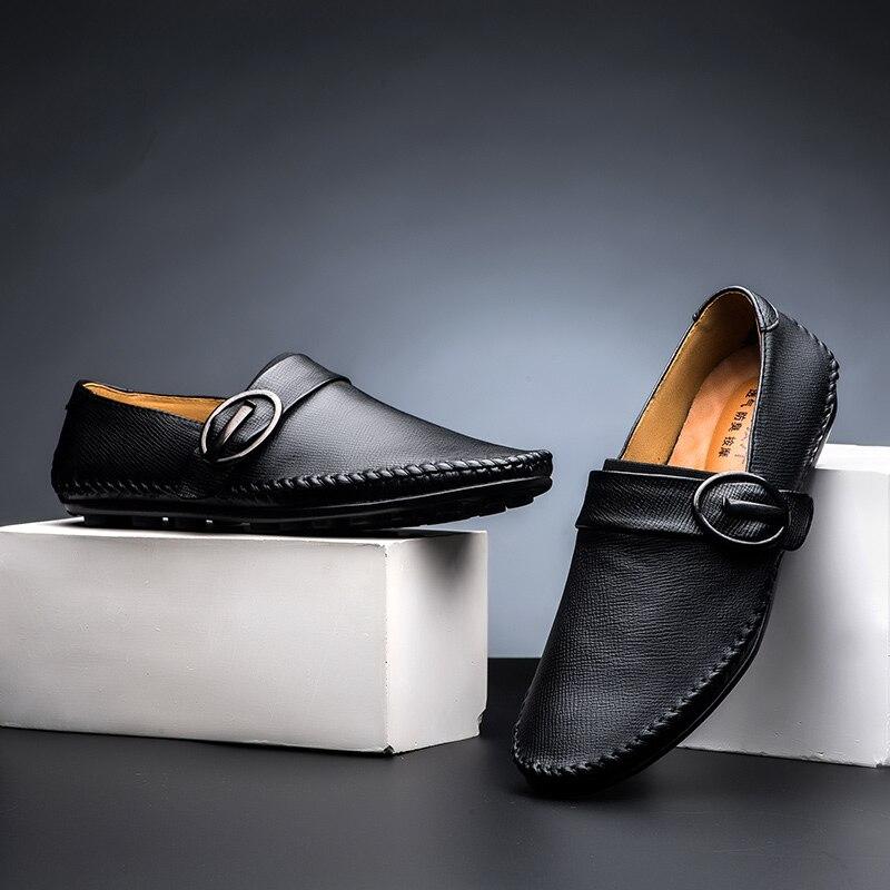 Bonjean 2019 haute qualité mocassins en cuir véritable Style britannique à la main hommes chaussures décontractées doux léger appartements paresseux chaussures