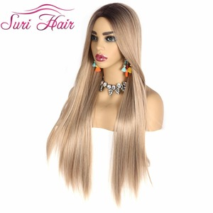 "Image 2 - Suri peluca larga recta pelo rubio dorado Ombre negro raíz pelucas sintéticas para mujeres Cosplay pelo envío gratis resistente al calor 30"""