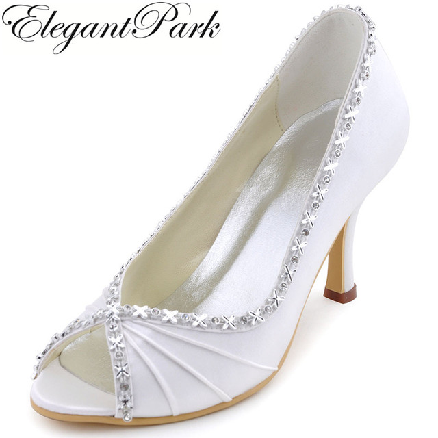 55c2e4047ee US $58.99 |Aliexpress.com : Buy Women Shoes White Peep Toe Bride High Heel  Rhinestones Pumps Satin Lady Bridesmaid Prom Evening Wedding Bridal Shoes  ...