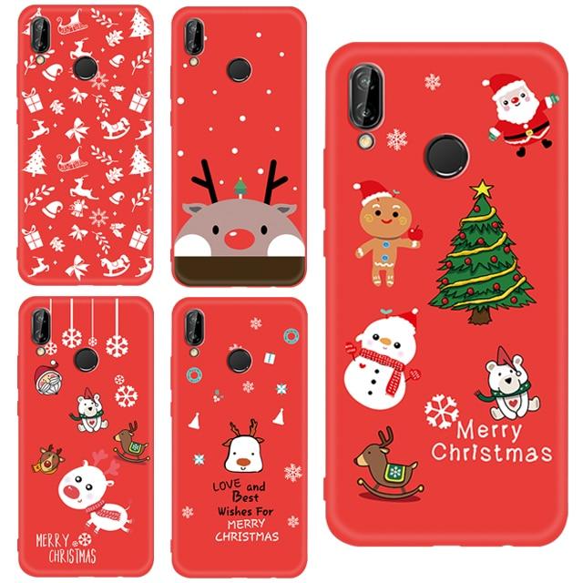 X-Mas Soft Red TPU Case For Huawei P20 Lite Pro Mate 20 P10 Lite Nova 3 3E 3I 2I P Smart Plus For Honor 9I Santa Deer Snow Cover