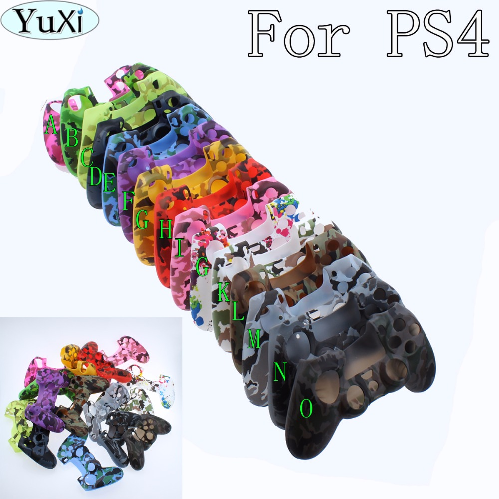 YuXi Durable Camouflage Camo Silicone Gel Rubber Soft sleeve Skin Grip Cover Case For Playstation 4 PS4 Pro PS4 Slim Gamepad Pro