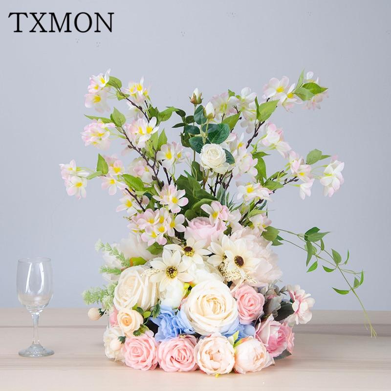 Décor à la maison simulation fleur en soie fleur table principale fleur mariage arrangement photographie accessoires hôtel jardin ornements