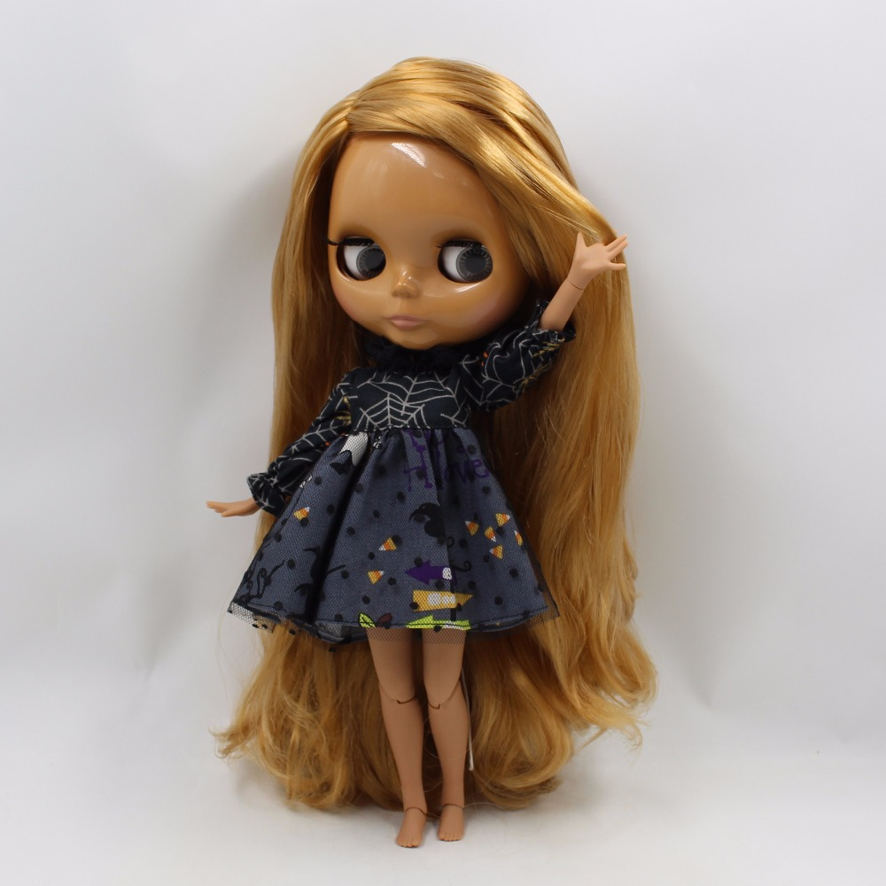 Neo Blythe Doll with Brown Hair, Dark Skin, Shiny Face & Jointed Body 2