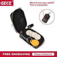 GZCZ New Smart Key Wallet Men Genuine Leather High Quality Anti Lost Intelligent Bluetooth Purse Male Smart Small Key Wallets
