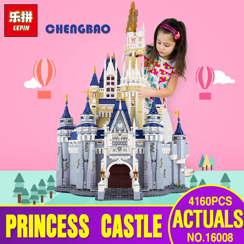 DHL LEPIN 16008 Cinderella Princess Castle City 4080pcs Model Educational Building Block Kid Toys Gift Compatible legoing 71040 lepin 16008 cinderella princess castle city model educational building block kid toys compatible legom 71040 for children gift