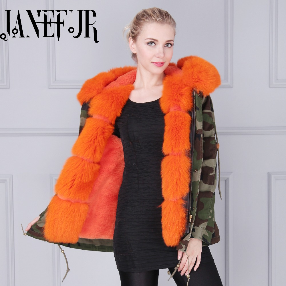 Women Fox Fur Hooded Parka Padded Natural Faux Lined Mr Mrs Coat 2016