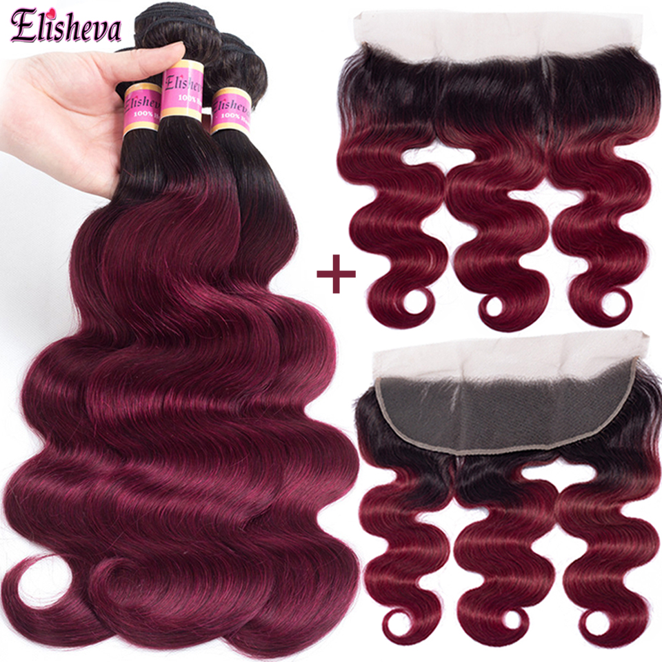 Elisheva 1b Burgundy Ombre Bundles with Lace Frontal Closure Remy Brazilian Body Wave Human Hair Weave