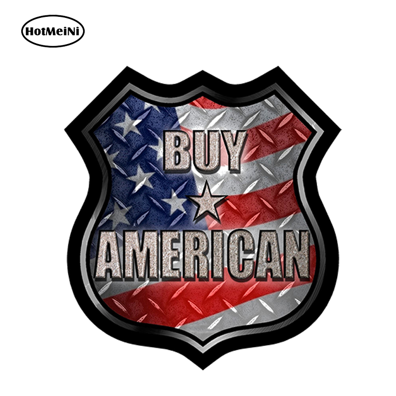 HotMeiNi Car Styling Buy American Decal Car Sticker Buy America Flag Road Sign Truck Waterproof Windows Accessories 13cmx13cm
