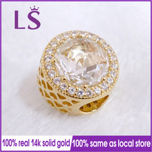 LS новый 100% 14 & K настоящее & Solid Gold Radiant сердца Шарм энкантос подходят оригинальный Браслеты Pulseira berloque 100% же. красивые ювелирные изделия N