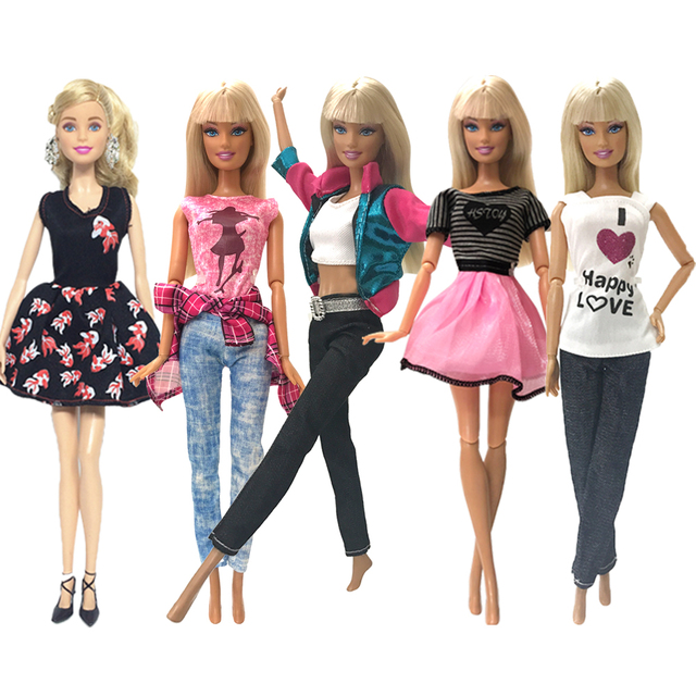 NK 5 Pcs/Set Princess Doll Dress Noble Gown For Barbie Doll Fashion Design Outfit Best Gift For Girl' Doll Hot Sale  Accessories