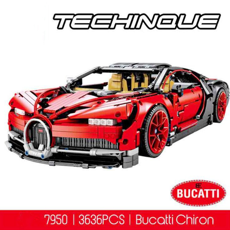 Technic race car block Bugatti red Chiron brick 42083 MOC-7950 model building block christmas gift brinquedos juguetes new technic series race car 20086b 23002 bugatti blue chiron brick 42083 moc 4789 model building block christmas gifts