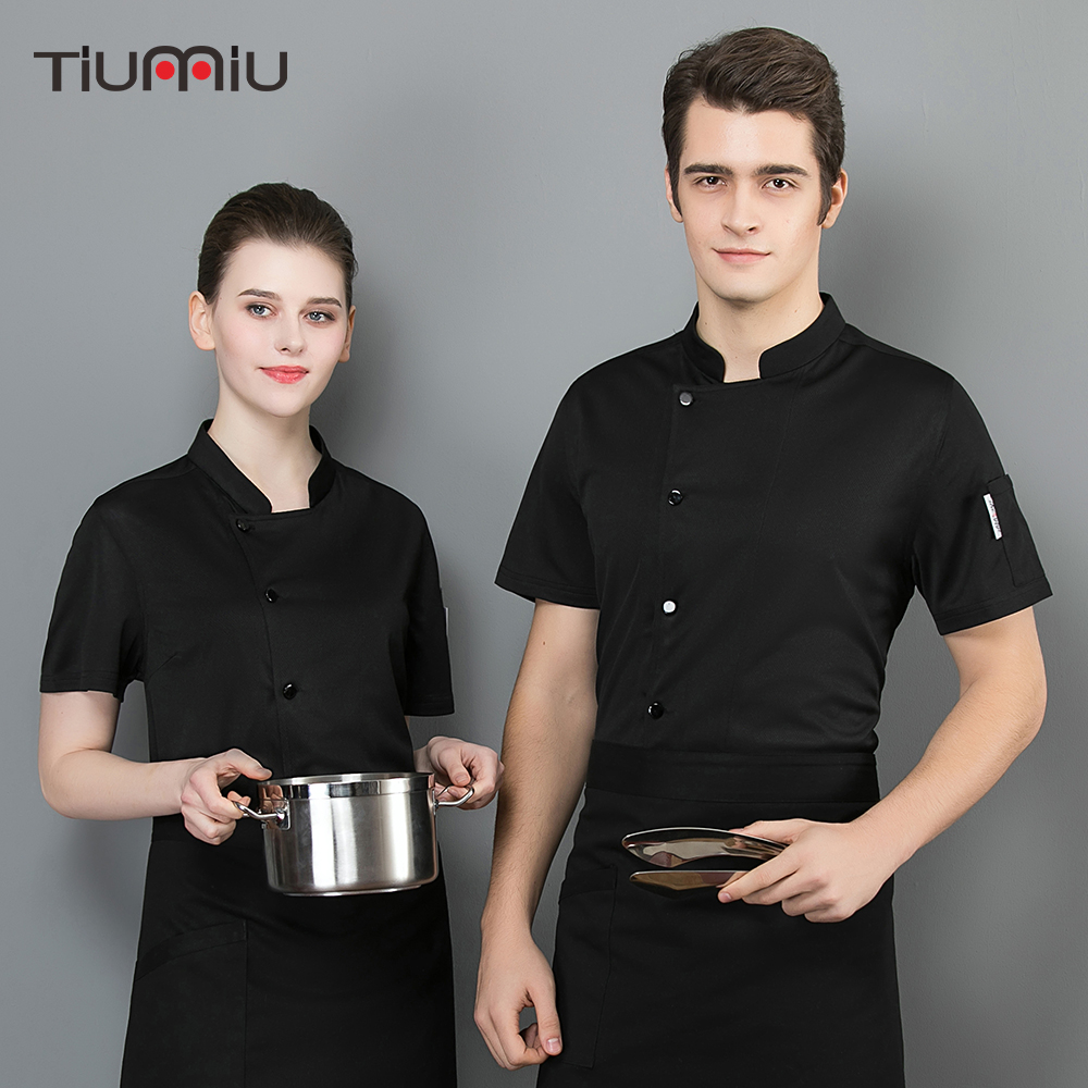 Womens Chef Coat Short Sleeve Pure Color Chef Uniform Chefs Work Clothes