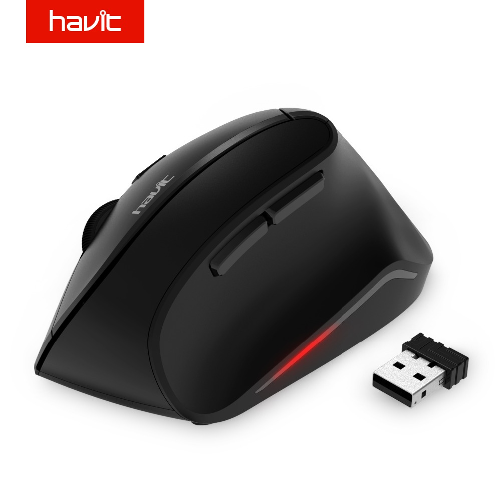HAVIT Vertical Mouse Optical Wireless Mouse 2.4GHz 1600 DPI Ratón ergonómico USB para computadora PC de escritorio portátil HV-MS55GT