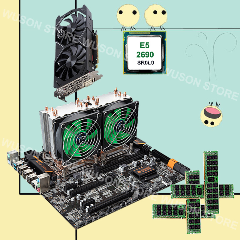 HUANANZHI Dual X79 Motherboard With M.2 Slot Dual LAN Port Dual CPU Intel Xeon E5 2690 2.9GHz Video Card GTX1050TI 4G RAM 4*16G