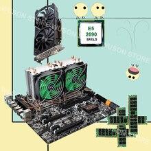 HUANANZHI двойной X79 материнской платы с M.2 слот dual LAN порт двойной Процессор Intel Xeon E5 2690 2,9 GHz видео карты GTX1050TI 4G Оперативная память 4*16G