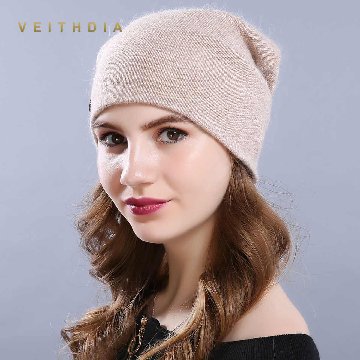 VEITHDIA Women's Hats Female Wool Casual Autumn Winter Brand New Double Layer Thick 2018 Solid Knitted Girls   Skullies     Beanies