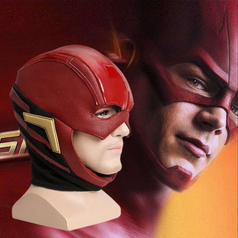 2017 film Justice ligue masque le Flash Allen Cosplay casque rouge masque adulte Halloween visage complet PU cuir Cosplay masque