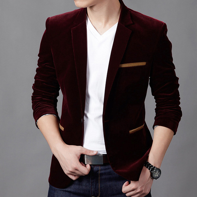 2018New Arrival Men's Spring Casual Blazers Stylish Slim Corduroy Blazer Men Fashion Suit Jacket