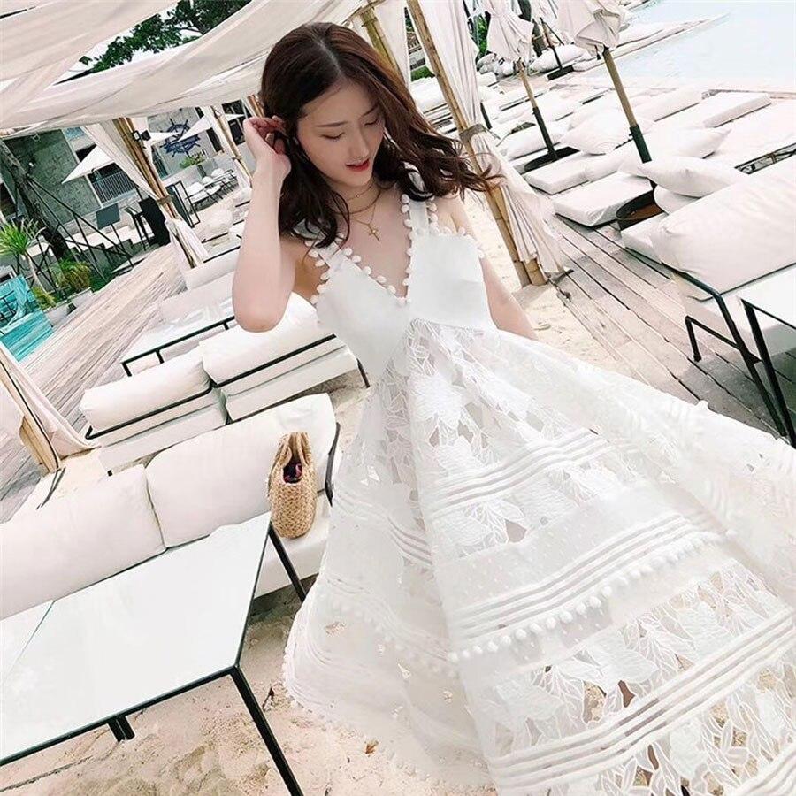 Manches Sans Qualité Femmes Longue Dentelle cou Automne Haute Lady Nouvelle Arrivée Robe De V Mode Robes Parti Sexy 2018 Black white 435ARjL