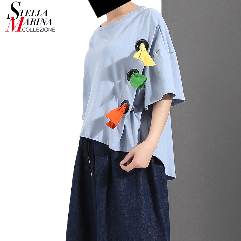 New 2018 Korean Style Women Summer Blue Gray Tee Top With Metal Hole & Cloth Knots Girls Stylish Unique Wear T-shirt Style 7010