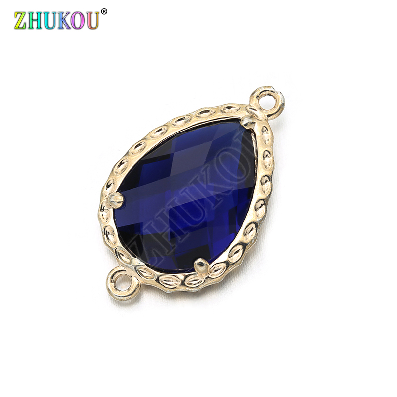 14*23mm High Quality Brass Cubic Zirconia Water-drops Shape  Connectors DIY Jewelry Findings Making, Hole:1.0mm Model: VS298