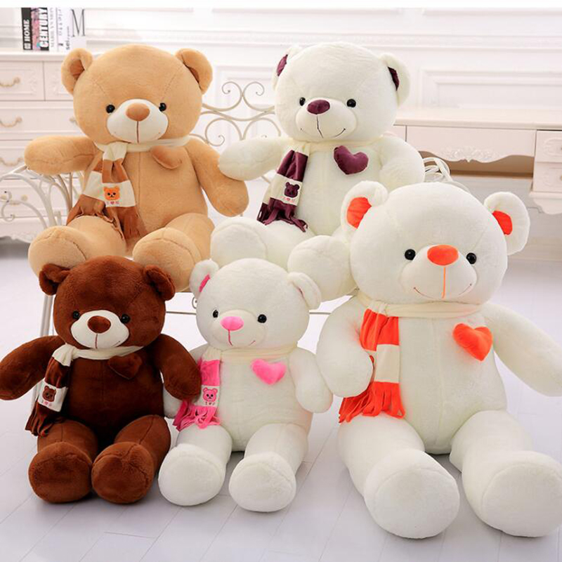 Hot toys 80CM Love Teddy Bear With Stuffed Animal Scarf Teddy Bear Stuffed Bear Toys female bear hug Bear Baby toy Birthday Gift fancytrader biggest in the world pluch bear toys real jumbo 134 340cm huge giant plush stuffed bear 2 sizes ft90451