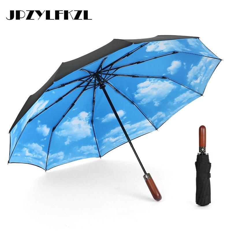 10k Wooden Handle Wind Resistant Automatic Umbrella Rain Women Auto Luxury Big Windproof Umbrellas Rain For Men Black Coating in Umbrellas from Home Garden